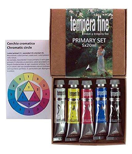 Industria Maimeri 2598049 - Tempera Farben, Set 5 Tubes, 20 Ml, Primärfarben