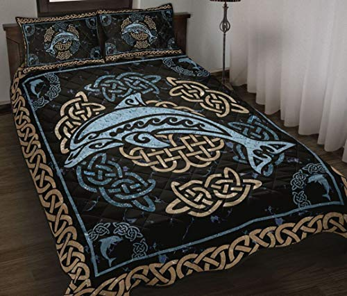 Personalized Dolphin Celtic Style Quilt Bedding Set King Queen Twin Throw Size Birthday for Dad Mom Husband Wife Kids Son Daughter Unique Quilted for Gifts Bedding