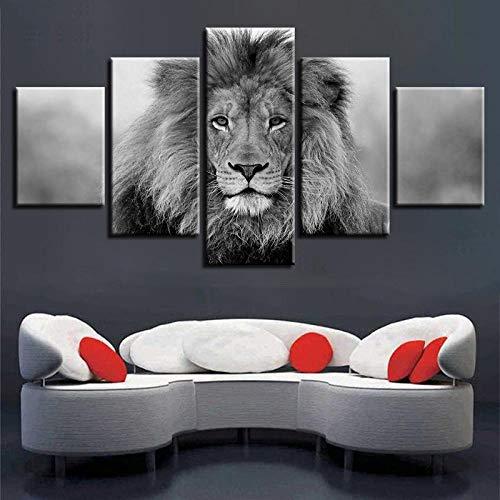 XXXCH Cuadro Moderno En Lienzo 5 Piezas - León Animal Blanco Y Negro Cuadro De Pintura Póster De Arte Moderno Oficina Sala De Estar O Dormitorio Decoración del Hogar Arte De Pared 200X100CM