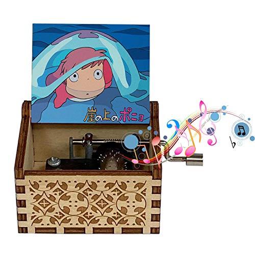 FunD Goebel Spieluhr Ponyo Theme Spieluhr Babybett Kurbel 18 Hinweis Antikes geschnitztes Geschenk Home Music Toy Dekoration