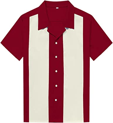 Candow Look Camisa Hombre Bowling Shirts Plus Size Two Tone Casual Shirts
