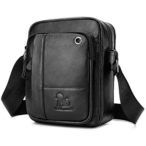 BAIGIO Bolso Bandolera Hombre de Cuero Bolso de Hombro Piel Pequeño Vintage Crossbody Bag Casual (Negro)