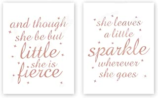 and Though She Be But Little She is Fierce-She Leaves a Little Sparkle Wherever She Gose with Stars Rose Gold Foil Print,Inspirational Cardstock Art Print Poster (Set of Two,8x10 inch,UNFRAMED)