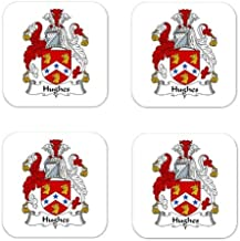 Hughes Family Crest Square Coasters Coat of Arms Coasters - Set of 4
