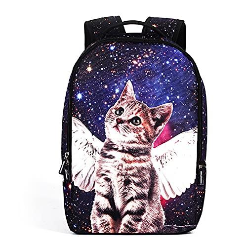 ZBK Mochila con diseño de gato ángel, mochila para portátil para hombres y mujeres, bolsa escolar para niños y niñas, 3 colores, Blue (Azul) - ZBK4892