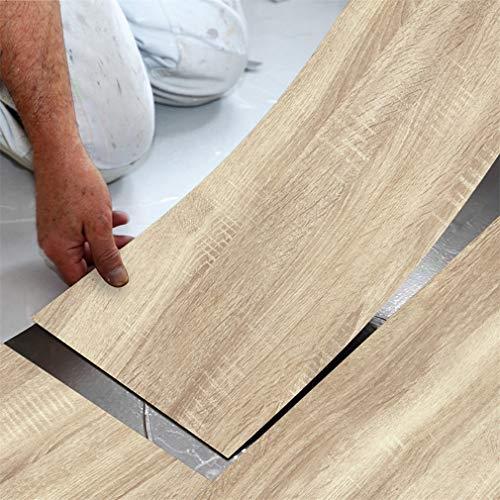 Thicken PVC Wood Grain Flooring Tiles Stickers Waterproof Wood Textured Adhesive Wallpaper for Door Floor Table and Wall,Sandal Wood 118 X 7.87 Inch