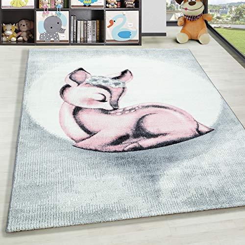 HomebyHome barnmatta kort flor rottingstol design barnkammare babyrum rosa vit flanell – storlek: 160 cm rund, färg: rosa