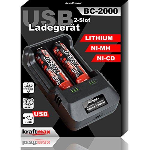 kraftmax BC-2000 USB Akku Ladegerät für 18650 | 26650 | 14500 | 16340 | CR123 | 3,7V Lithium und Mignon AA | Micro AAA NIMH Akkus - Ideal zum Aufladen von Sony 18650 Pro Akkus Li-Ion Smart Charging