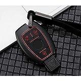 RFGOO Soporte de la Cubierta de la Caja de la Llave de la Fibra de Carbono del Coche, Mercedes Benz CLS CLA GL R SLK AMG ABCs AMG A Negro Rojo