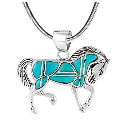 "Horse Pendant Necklace 925 Sterling Silver Genuine Gemstones (20"", Turquoise)"