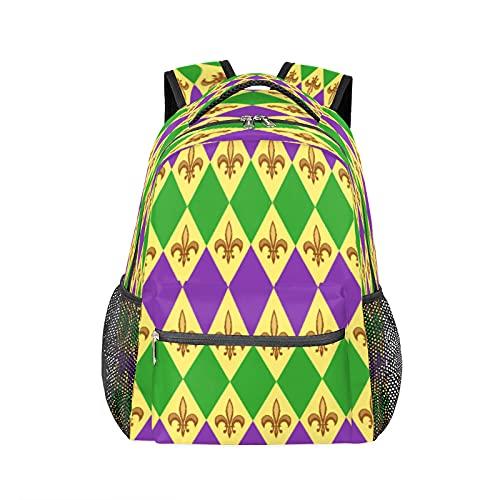 Mardi Gras - Zaino per computer portatile, resistente, impermeabile, per scuola, viaggi, escursionismo, campeggio, zaino a tracolla, per donne e uomini