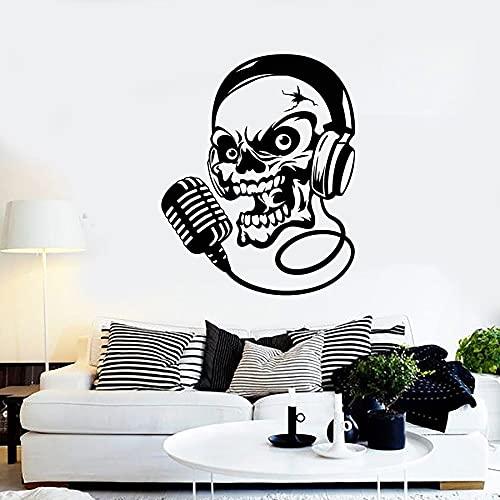 HFDHFH Calcomanía de Pared de Calavera Auriculares música micrófono Canto Vinilo Pegatina Estilo Fresco Dormitorio Interior Masculino 57X70 CM