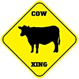 Fastasticdeals Cow Crossing Funny Metal Aluminum Novelty Sign