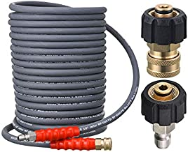 RIDGE WASHER Pressure Washer Hose 50 Feet X 3/8 Inch for Hot and Cold Water, with M22 14mm to 3/8 Inch Quick Connect, 4000 PSI
