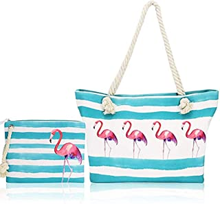 Beach Bag Extra Large Travel Tote with Zipper for Women,2 PCS Set Light Weight Summer Bag with Rope Handle(Flamingo)