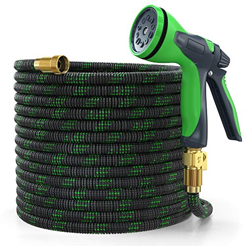 YEMMEN Garden Hose 50ft Expandable Water Hose with 10 Function Spray Nozzle and Solid Fittings Connectors for Yard Watering Washing