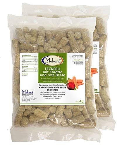Makana Karotte und Rote Beete Leckerlie Snack für Pferde, 2 x 1000 g Beutel (2 x 1 kg)