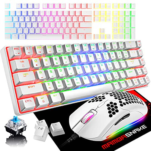 60% Mechanical Gaming Keyboard Mini 68 Keys Anti-Ghosting Wired Type C Chroma RGB 18 Backlit Effects,Lightweight Gaming Mosue 6400DPI Honeycomb Optical,108 PBT Pudding Keycaps for PC Gamers(White)
