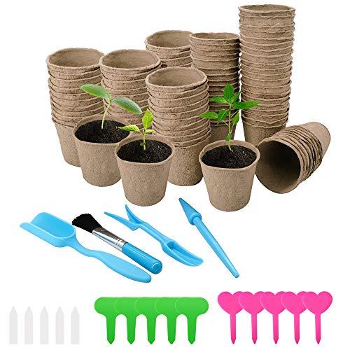 Halcyerdu 100 Pièces Pots en Tourbe pour Semis, Rondes Pots Biodégradables, avec 15 Pièces Étiquettes Plantes, avec 4 Pièces Mini Jardin Plantation D'outils à Main, Diamètre 8 cm