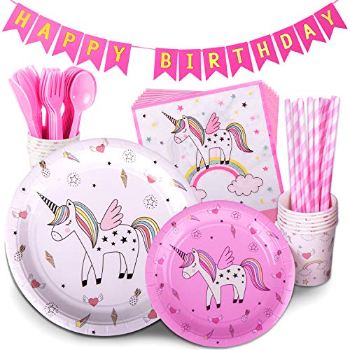 Unicorn Party Supplies Multicolor 72 Piece Pack Children's Rainbow Birthday Party Supply Set With Bonus Happy Birthday Banner By Trendy Brandy - Serves 12