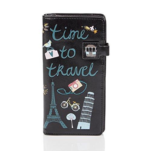 SHAGWEAR ® Portemonnaie Geldbörse Damen Geldbeutel Mädchen Bifold Mehrfarbig Portmonee Designs: (Reise/Travel)