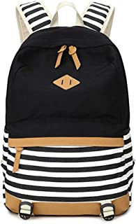 Chihom School Bacpack Lightweight Canvas Laptop Backpacks for Men Women Daypacks Stripe Rucksack Bookbags Black