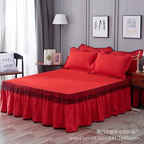 huyiming Se USA para la versión Coreana Vestido de cama de Encaje Juego de cama Individual Cubierta de cama Doble, Falda de cama antideslizante cama de 1,8 m: 180x200 cm