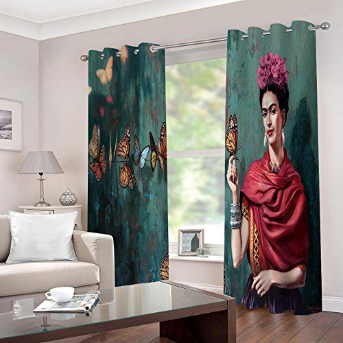 Cortina para Habitación Opaca Y Térmica Aislante, Frida Butterfly Cortinas De Ojales Dormitorio Moderno Blackout Curtain Suave para Ventanas De Habitación 140x160cm