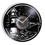 KDBWYC Reloj de Disco de Vinilo con Faro con Vista al mar, Reloj de Pared náutico con Vista al mar, Reloj de Pared silencioso, no Tick, Playa, Art Deco Moderno, sin LED