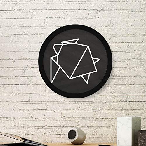 DIYthinker Resumen de Origami Tortuga Forma geométrica Arte Pintura Foto de la Imagen de Madera Marco Redondo Regalo a casa decoración de la Pared Pequeña Negro
