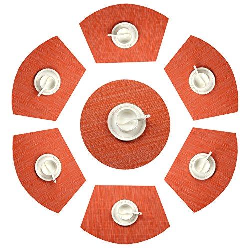SHACOS Keilförmige Platzsets Set von 7,PVC Tischsets Abwaschbar Hitzebeständig Verschleißfest,Platzdeckchen geeignet für Runde Tische,Restaurant,Grill usw (Orange,7)