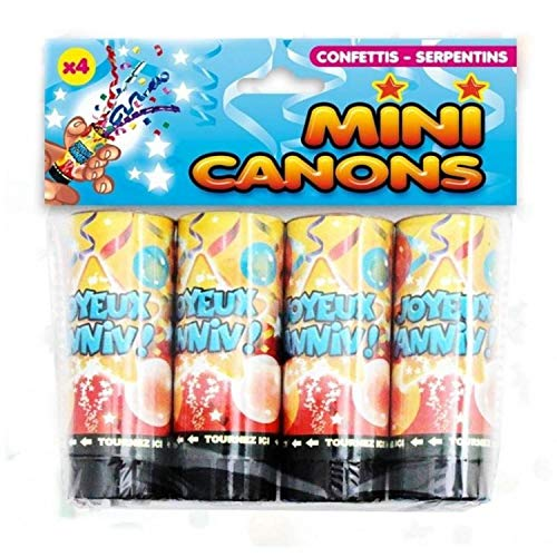 Lot de 4 mini canons confettis