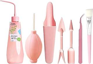 ecmqs herramientas de jardinería–1Juego Plantas Maceta Mini maceta de flores botella de agua cepillo de ventilador herramientas de pala plantas en maceta accesorio de jardinería doméstica 3 rosa