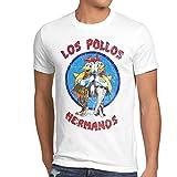 style3 Los Pollos Camiseta para Hombre T-Shirt, Talla:3XL;Color:Blanco