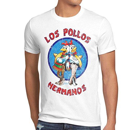 style3 Los Pollos T-Shirt Herren, Größe:M, Farbe:Weiß