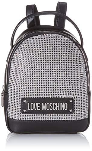 Love Moschino Damen Jc4052pp1a Rucksackhandtasche, Silber (Argento Nero), 9x20x23 Centimeters