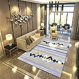 WJTHH Alfombra moderna tradicional lavable alfombra moderna alfombra de dormitorio moderna minimalista rayas rayas en forma de diamante alfombra duradera alfombra comedor 160 x 230 cm