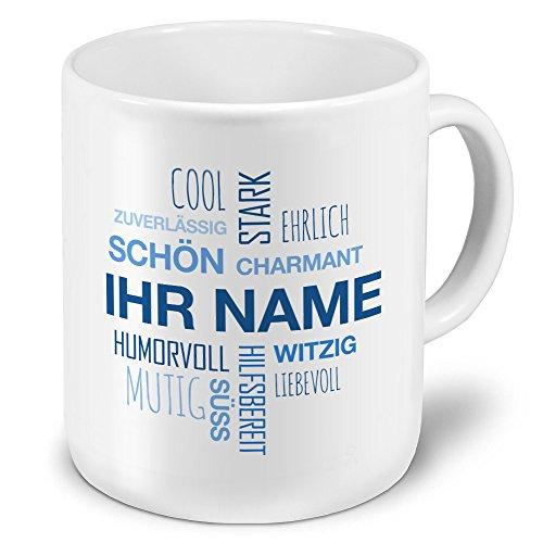 printplanet XXL Riesen-Tasse mit Namen personalisiert - Motiv Positive Eigenschaften (Modern) Blau - individuell gestalten - Namenstasse, Kaffeebecher, Becher, Mug