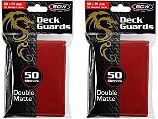 BCW 2 50ct Packs (100) Mat Deck Guard RED DOUBLE MATTE Finish for Standard Size Collectible Cards - Deck Protector Sleeves...