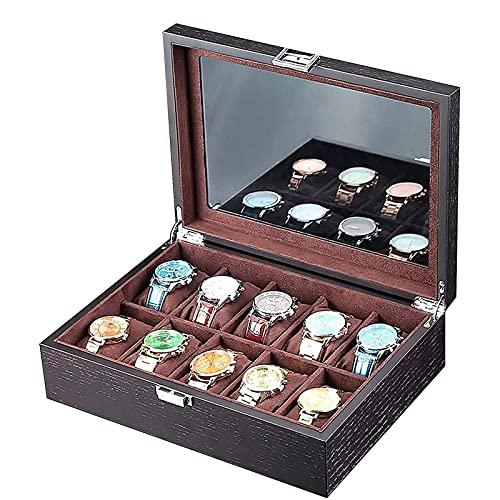KMDJ Black Watch Box Organizer, 10 tragamonedas Reloj Funda para Hombre, Reloj Mueble de exhibición con Soporte de Accesorios de Ventanas de Vidrio Grande para Relojes, Pulseras y puños Joyery Boxes