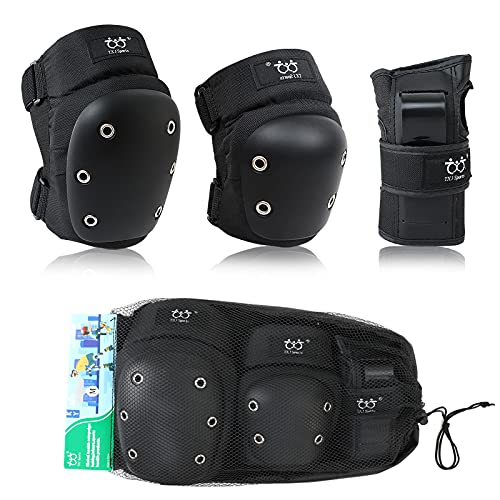 Adult Youth Knee Pads Wrist Guards with Elbow Pads Protective Gear Set for Skating Roller Inline Skating Derby Rollerblading Cycling bike scooter