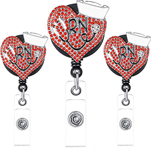 3 Pieces Red Heart Nurse Retractable Badge Red Heart Nurse Badge Holder Reel Clip ID Badge Reel Clip for Nurse Work Name Badge ID Card