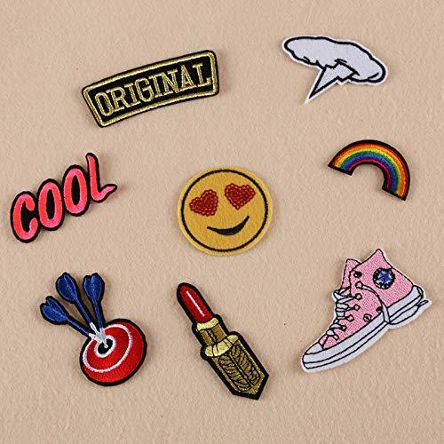 Patches zum aufbügeln,Stickerei,Wird zum Dekorieren von Kleidung verwendet, um Löcher in Kleidung zu reparier, Smiley-Schuhe, Lippenstift 8St