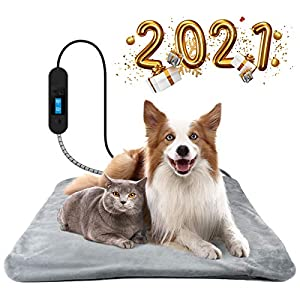 MOSONTH Pet Heating Pad for Dog and Cat with Warm Removable Fleece Cover, Chew Resistant Steel Cord, Adjustable Temperature Timer Dog Heating Pad
