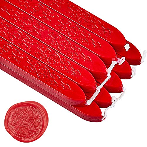 CRASPIRE 20 Pezzo di Ceralacca in Stick con Stoppini Antico Manoscritto Ceralacca per Sigillo di Cera Timbro Busta Carte Invito Decorazione Regalo (Vintage Rosso)