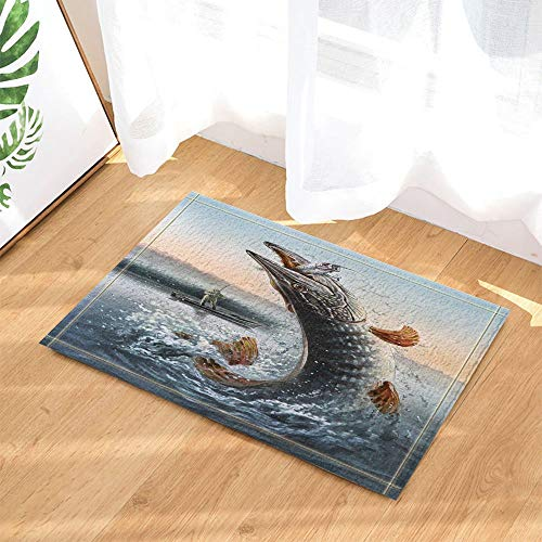 123456789 Painting Fishing Decor Man in Boat Fishing Big Fish in Waves for Fisherman Bath Rugs Non-Slip Doormat Floor Entryways Indoor Front Door Mat Kids Bath Mat 60X40CM Bathroom Accessories