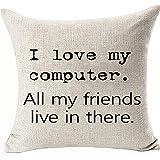 Fundas de almohada I Love My Computer All My Friends Live in There con decoración divertida de doble cara de 45 cm x 45 cm fundas de almohada para sofá sofá sillón, color: I Love My Computer