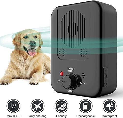 Queenmew Ultraschall Anti-Bellgerät Hundebellen, wasserdichte Abschreckung für den Außenbereich im 50 Fuß Bereich, Sicherer und Humaner Hundetrainer