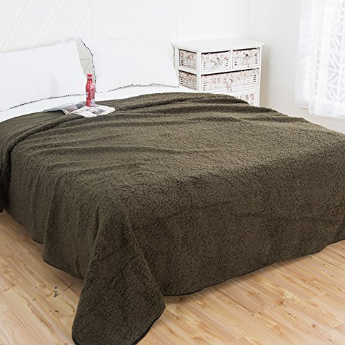 qwert Baumwoll-samt-monochrom-Blatt Verdickte Winter Decken Bettwäsche Napping Decke Doppelbetten Klimaanlage Decke-D 230x245cm(91x96inch)