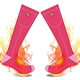 Electric Heated Socks Rechargeable Battery Heat Sox Kit for Men Women,Unisex Winter Warm Battery Powered Heating Thermal Stockings,Novelty Sports Outdoor Heated Socks Hunting Foot Warmer (Pink)